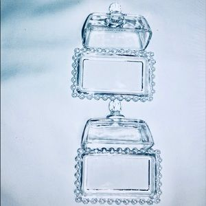 2 BUTTER DISHES GLASS BUTTER SAVER NEW CATALINA